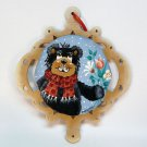 Hand painted wooden bear Christmas ornament artist signed