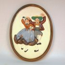 Vtg 1961 Hermonn Napco Tyrolean Dancers oval wall plaque A5271B Japan
