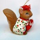Paper mache squirrel girl Christmas ornament