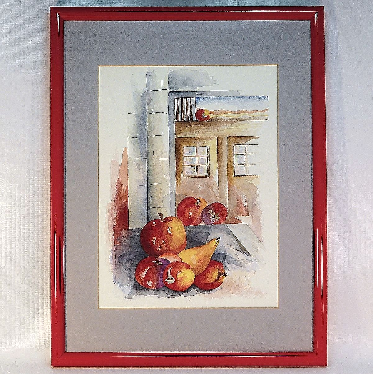 Watercolor Painting Still Life by Beardsley Apples and Pear