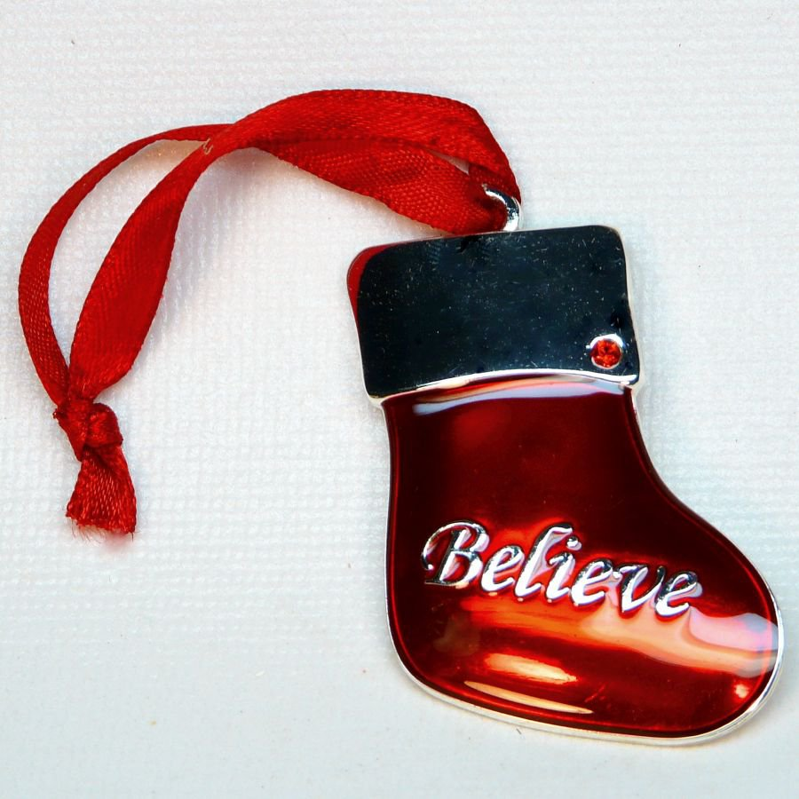 Harvey lewis enamel stocking believe christmas ornament