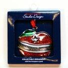 Teacher apple Christmas ornament Harvey Lewis enamel for Regent Square Studio Design