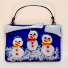 Fused glass snowman Christmas ornament