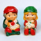 Vintage Christmas salt and pepper boy and girl Avon 1983