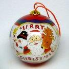 Li Bien reverse painted Merry Christmas ornament Santa