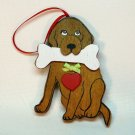 Dog with bone Christmas ornament wooden Kurt Adler