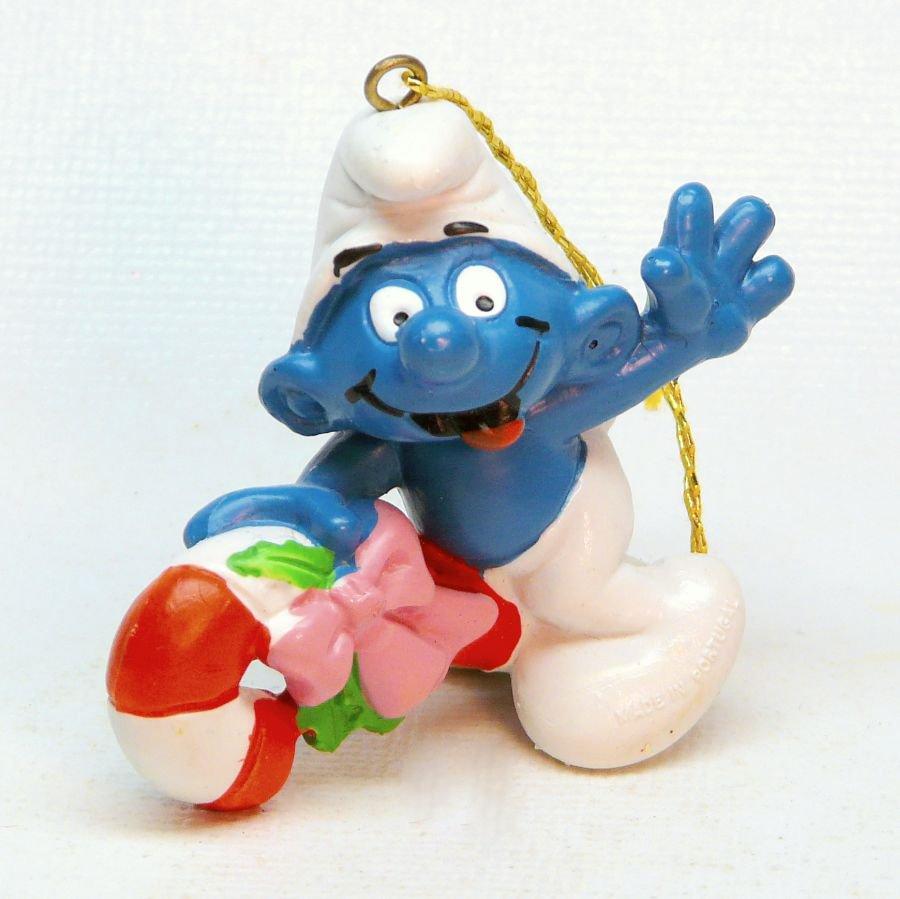 1981 Smurf candy cane Christmas ornament Schleich Peyo