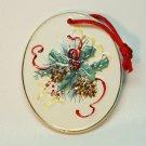 Oval ceramic pinecone design Christmas ornament