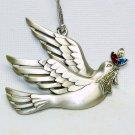 Pewter look dove Christmas ornament Gloria Duchin