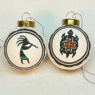 2 vintage Native American ornaments signed AY Kokopelli turtle