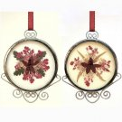 2 vintage pressed flowers Christmas ornaments glass silver tone filigree metal