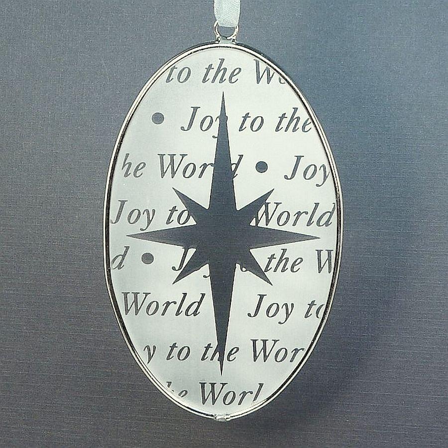 Russ Christmas ornament glass oval star Joy to the World