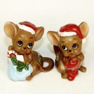 2 vintage Josef Originals Chrisrmas mouse figurines Japan