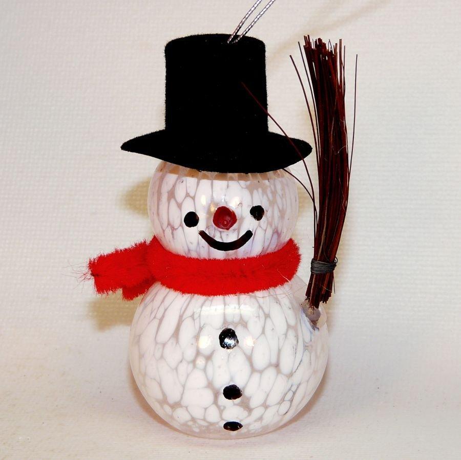 Snowman Christmas ornament blown glass