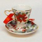 Reutter porcelain teacup Christmas ornament poinsiettas Germany
