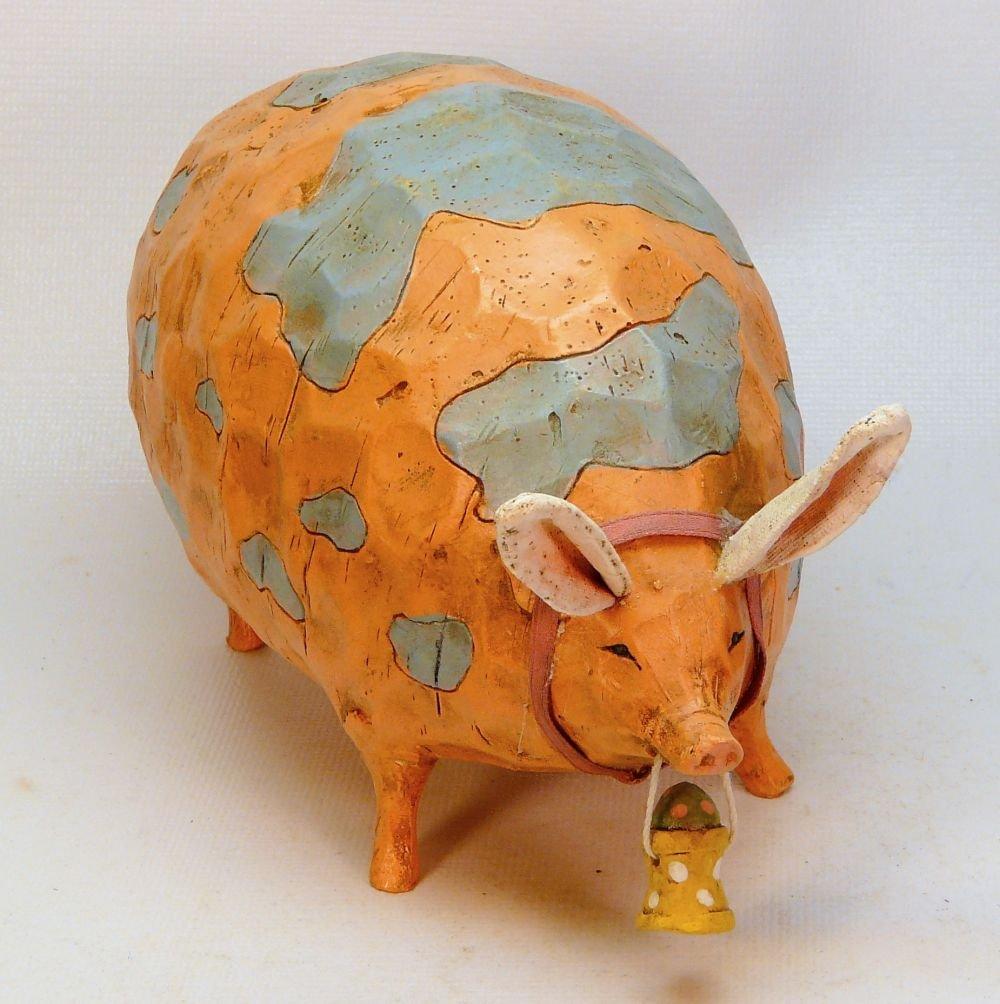 Vintage Foreside fat pig figurine carrying Easter basket