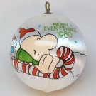 Vintage Ziggy 1980 Merry Everything Christmas ornament satin ball sleeved