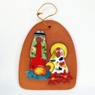 Vintage clay and enamel Nativity Christmas ornament Puerto Rico artist signed