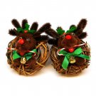 2 vintage reindeer Christmas ornaments handmade wreath pipe cleaners