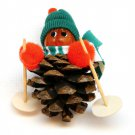 Skiing Christmas ornament handmade pine cone nut