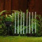 8 Bubble White LED Light Outdoor Lawn Garden Solar Powered Sticks