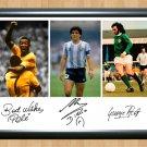 Diego Maradona George Best Pele Football Legends Signed Autographed Photo Poster fot115 A2 16.5x23.4