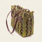 Unique Raffia Bag With Cherry Leather Case, Handmade Bag, Raffia Bag, Leather Case