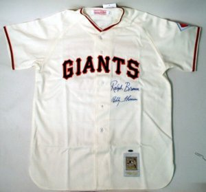 Ralph Branca and Bobby Thomson Dual signed Giants Jersey