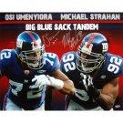 Michael Strahan & Osi Umenyiora Dual Signed Big Blue Sack Tandem 16x20 Photograph
