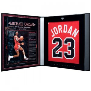 Michael Jordan Autographed Chicago Bulls 1986-87 Away/Red Jersey - Jersey Archives Box (UDA)