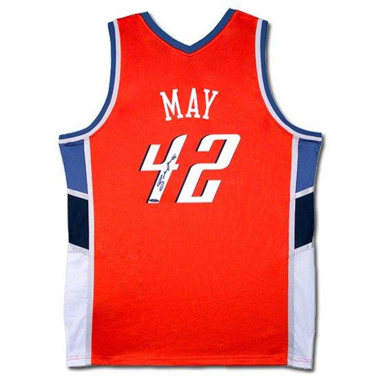 Sean May Autographed Charlotte Bobcats Away/Orange Jersey (UDA)