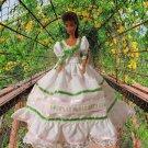 Princess  White with Green Fun Ballgown