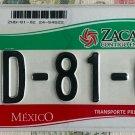 2010s ZACATECAS MEXICO AUTO LICENSE PLATE [ZHD-81-02]