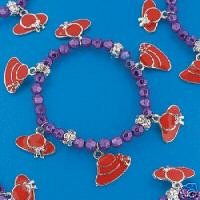 Beaded Red Hat Society Charm Bracelet
