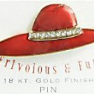 18 Kt. Gold Finish Red Hat Society Pin w/Crystal Band