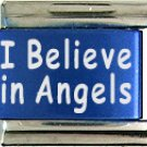 I Believe In Angels Blue Italian Laser Charm