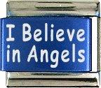I Believe In Angels Blue Italian Laser Charm