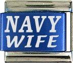 Navy Wife Turquoise Italian Laser Charm