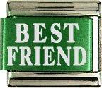 Best Friend Green Italian Laser Italian Charm