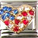 Beautiful Rhinestone Patriotic Heart Italian Charm