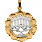 14k Two Tone Menorah Gold Pendant