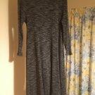 BLACK GREY MARL HIGH NECK PULLOVER DRESS STRETCH KNIT RIBBED SIZE 10 F&F