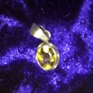 Citrine Oval Pendant Silver Yellow CHAKRA CRYSTAL HEALING