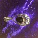 Faceted Nouveau Teardrop Scroll Openwork Heavy Black Onyx Silver Pendant CHAKRA