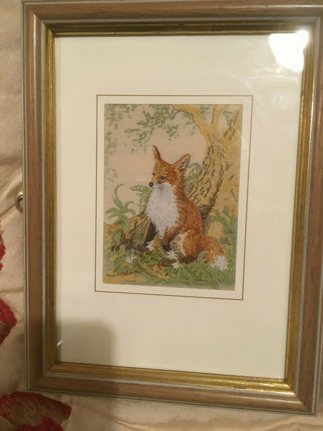 FRAMED SILK WOVEN FOX PICTURE
