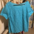 TURQUOISE COTTON EMBROIDERED TEE TOP SIZE 10 TU