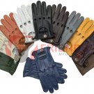 Pack of 3 Mens Goat Skin Leather perforated motorbike and Driving Gloves
