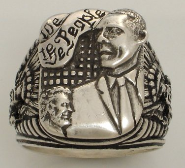 Barak Obama Presidential Eagle Ring Sterling Silver X-Large