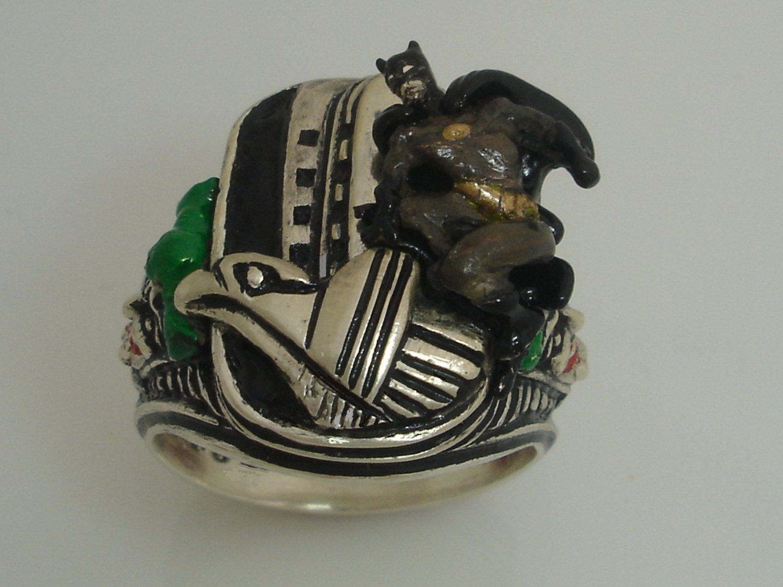 The JOKER Batman Garyole Sterling Silver ring Large