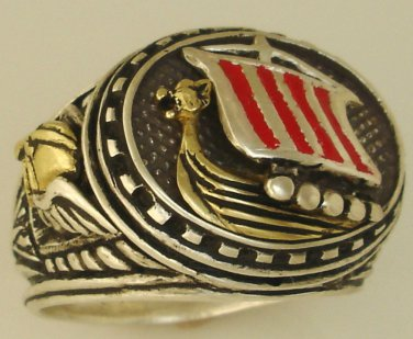 10Karat Gold Viking Longship Mens silver ring